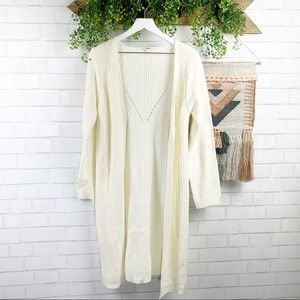 Timing Boho Cream Sweater Cardigan SZ L